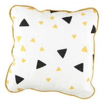 Nobodinoz Coussin Joe triangles noir jaune 19x19 cm-product