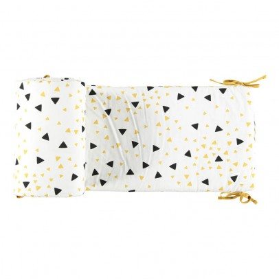 Nobodinoz Yellow and Black Triangle Bed Bumper-listing