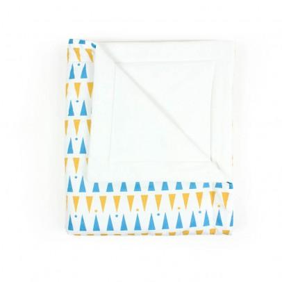 Nobodinoz Edredón de triángulos amarillo azul-listing