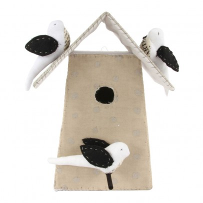 Tamar Mogendorff Polka dot Nesting Box with 3 birds - Natural and White-listing