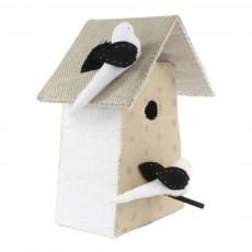 Tamar Mogendorff Vogelhäuschen mit Tupfen und 3 Vögel-Naturfarbe und Weiß -listing