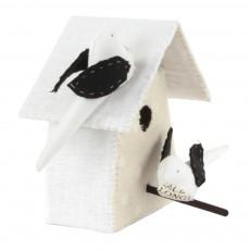 Tamar Mogendorff Nichoir avec 2 oiseaux - Noir et blanc-listing