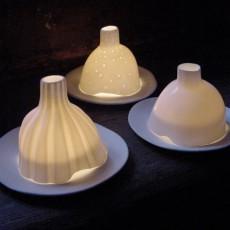 Tse & Tse Photophore Igloo rayé porcelaine mate-listing