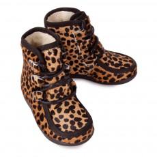 Petit Nord Leopard Print Fur Boots-listing