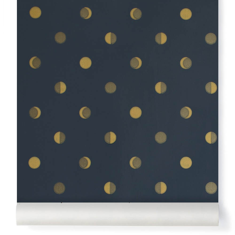 Crescent moons wallpaper - Ink Midnight blue-product