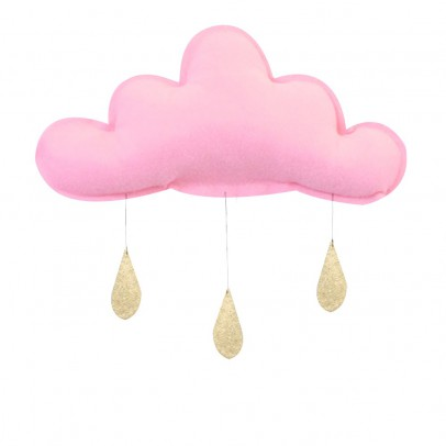 The Butter Flying Wolken Mobile mit goldenen Tropfen - Hellrosa-listing