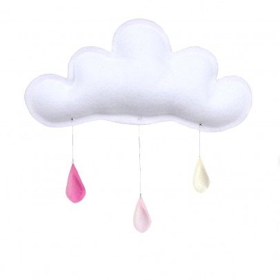 The Butter Flying Pink Raindrops Mobile - Powder - Cream-listing