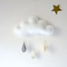 The Butter Flying Mobile Gouttes de pluie gris - doré - crème-listing