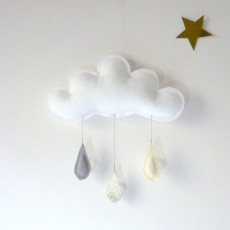 The Butter Flying Mobile-Regentropfen--Grau-Gold-Cremefarbe -listing