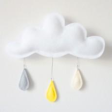 The Butter Flying Mobile Gouttes de pluie gris - jaune- crème-listing