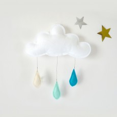 The Butter Flying Cream Raindrops Mobile - Mint - Turquoise-listing