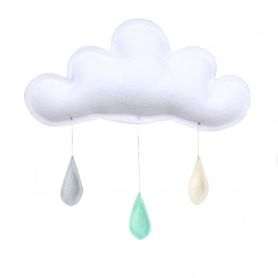 The Butter Flying Grey Raindrops Mobile - Mint - Cream-listing