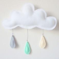The Butter Flying Móvil Gotas de lluvia gris - menta - crema-listing
