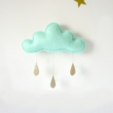 The Butter Flying Mobile Wolke und Tropfen-Gold -listing