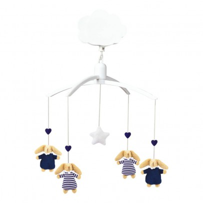 Trousselier Striped Navy Blue Rabbit Baby Nest Musical Mobile-listing