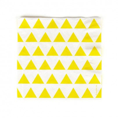 My Little Day Serviettes en papier triangles jaunes - Lot de 20-listing
