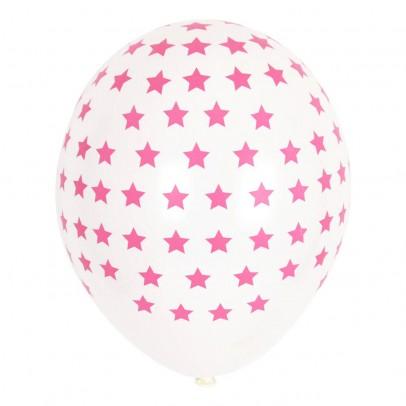 Ballons étoiles fuchsia en latex - Lot de 5