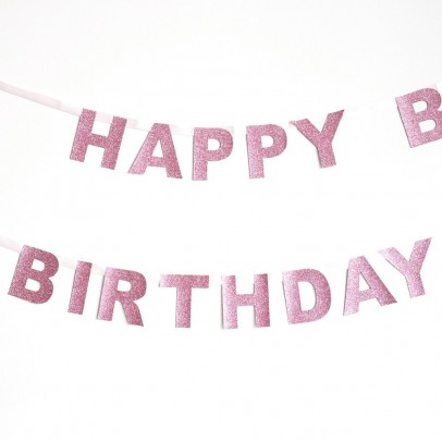 My Little Day Pink Happy Birthday Garland-listing