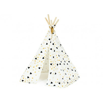 Nobodinoz Cotton Mini Teepee - Yellow and Black Triangles-listing