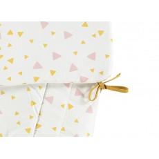 Nobodinoz Protector de cuna triángulos rosa amarillo-listing