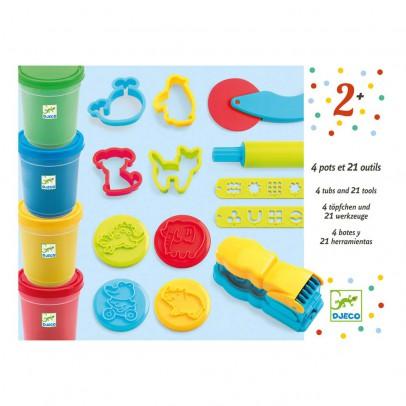 Djeco Pâte à modeler 4 pots et 21 outils-listing