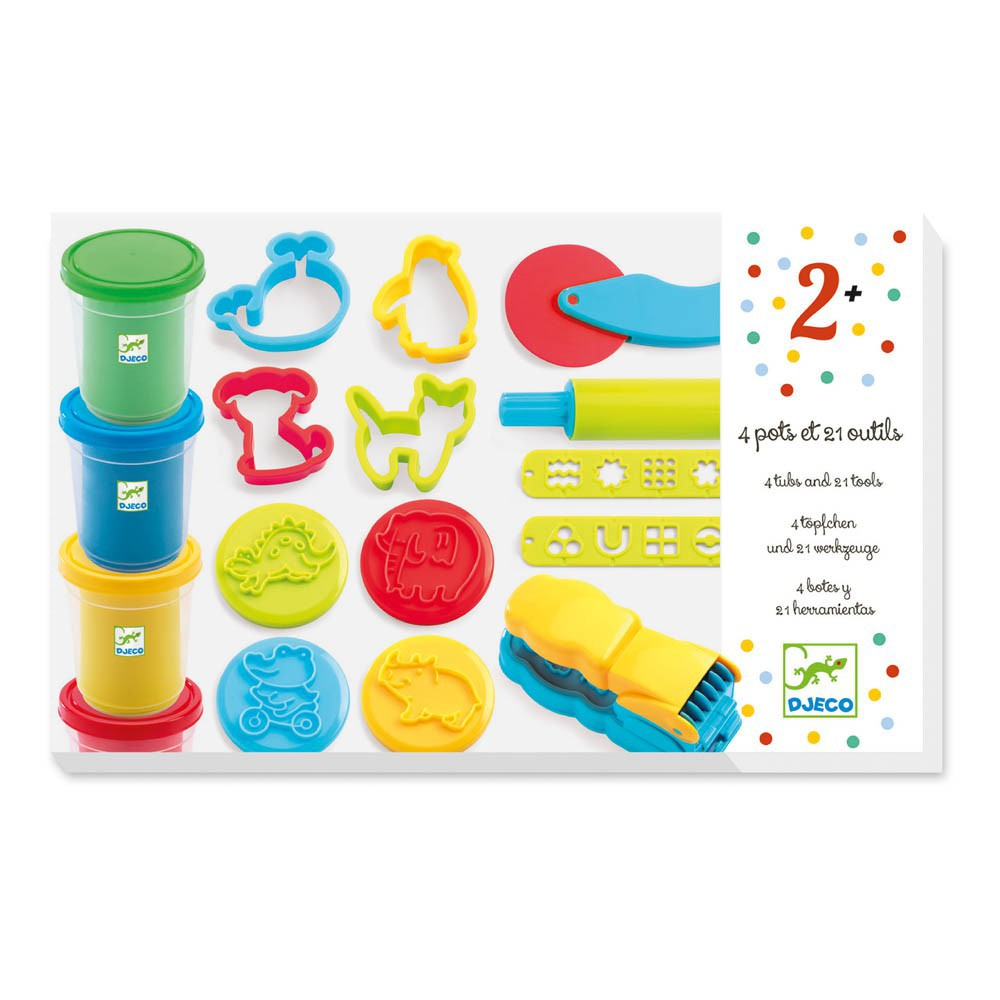 Djeco 4 pots of Modelling Dough and 21 Tools-product