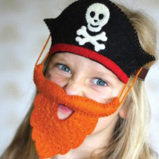 Sew heart felt Sombrero y barba de pirata-listing