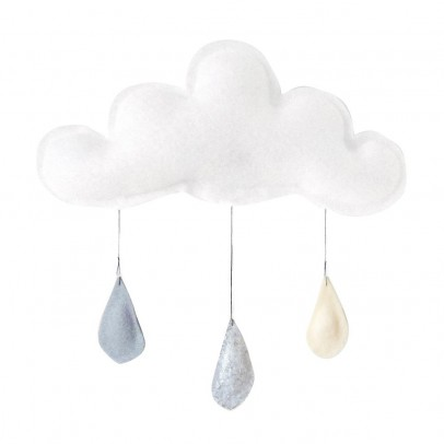 The Butter Flying Grey Raindrops Mobile - Silver - Cream-listing