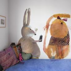 Bien Fait Rabbit 112x200cm wallpaper - Illustration by Beatrice Alemagna-listing