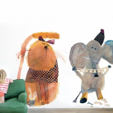 Bien Fait Papier-peint Eléphant 112x200 cm - Illustration par Beatrice Alemagna-listing