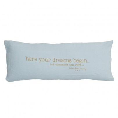 "Bed and philosophy Cushion with Washed Linen Print ""Here Begins Your Dream"" - 30x70 cm-listing"