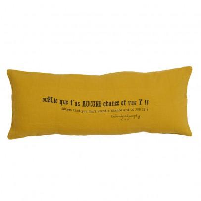 """Bed and philosophy Cojín lino lavado """"Oublie que t'as aucune chance et vas y !"""" - 30x70 cm-listing"""