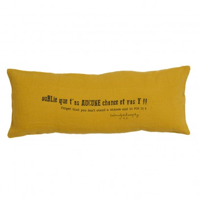 "Bed and philosophy Cushion with Washed Linen Print ""Forget that you have no luck and get moving!"" - 30x70 cm-listing"