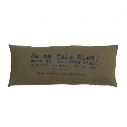 "Bed and philosophy Cushion with Washed Linen Print ""I do nothing but I do it well"" - 30x70 cm-listing"