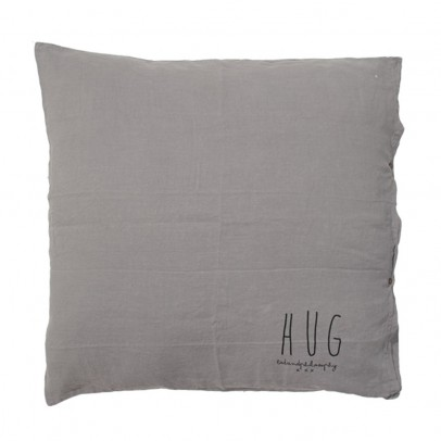 Bed and philosophy Cushion with Washed Linen Silk-Screen Print - 80x80 cm-listing