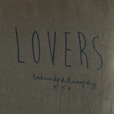 "Bed and philosophy Cushion with Washed Linen Silk-Screen Print ""Lovers"" - 55x110 cm-listing"