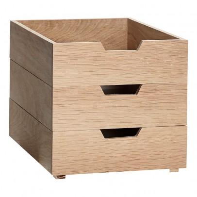 Hübsch Boîtes de rangement empilables en chêne - Set de 3-listing