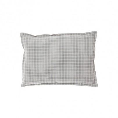 Camomile London Coussin garni à carreaux et verso gris 22x30 cm-listing