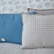 Camomile London Cuscino con quadri e retro grigio 22x30cm-listing