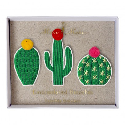 Meri Meri Embroidered Cactus Pin - Set of 3-listing
