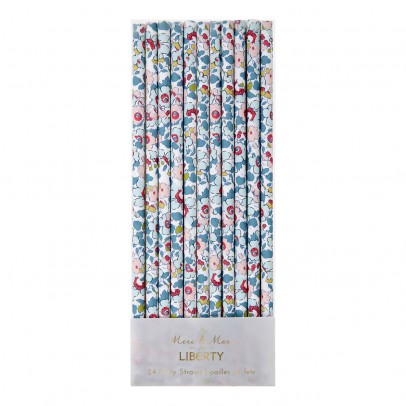 Meri Meri Patterned Paper Liberty Betsy Straws - Set of 24-listing