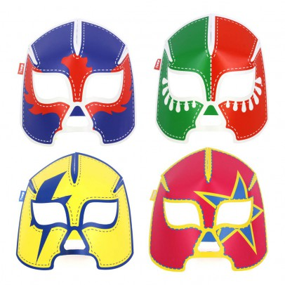 DOIY Masques fluorescents en papier catcheur - Set de 8-listing