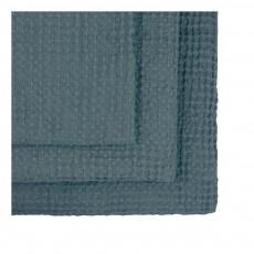 Numero 74 Set de 3 toallas de baño en nido de abeja - Azul grisáceo-product