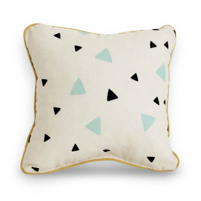 Nobodinoz Coussin en coton garni carré triangles noir vert-listing