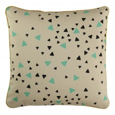 Nobodinoz Cotton cushion with black and green triangles-listing