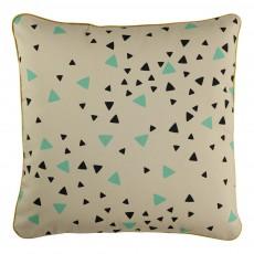Nobodinoz Gefülltes Baumwollkissen quadratisch mit schwarzen und grünen Dreiecken-listing
