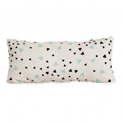 Nobodinoz Averell cotton cushion with rectangle balck and green triangles 52x24cm-listing