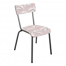 Les Gambettes Suzie chair for grown-ups with natural legs - Printed palm leaves-listing