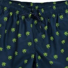 Sundek Badeshorts mit Palmenmotiv und dreifarbigem Streifen-listing