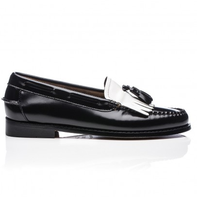 Bass Two-coloured Leather Kiltie Loafers-listing